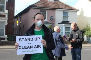 Image of Keith Taylor, the Green Party Member of the European Parliament for the South East region, being interviewed on Portsmouth's illegal pollution levels.