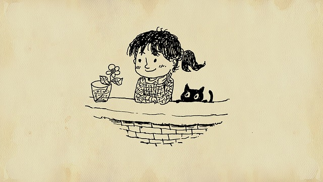 drawing of girl and her cat